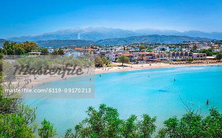 View of Agioi Apostoloi Beach, Crete, Greek Islands, Greece, Europe