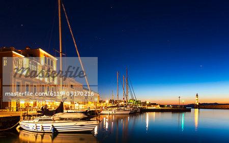 The Venetian Harbour at night, Chania, Crete, Greek Islands, Greece, Europe