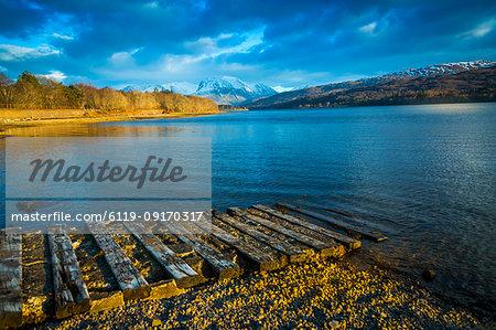 View of Loch Eil near Glenfinnan in winter, Highlands, Scotland, United Kingdom, Europe