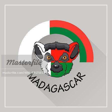 Madagascar  label.  Vector illustration with lemur painted in color of national flag.  Icon. Emblem. Popular madagascar animal.
