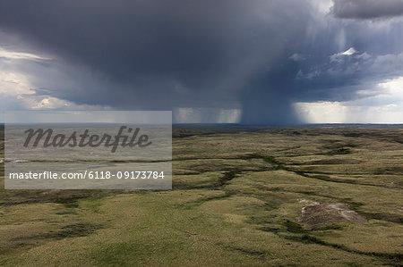 Dark storm clouds of over Grasslands National Park, Saskatchewan, Canada.