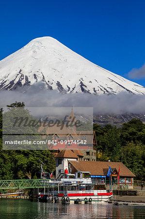 Petrohue, snow-capped, conical Osorno volcano, Lake Todos Los Santos, Vicente Perez Rosales National Park, Lakes District, Chile, South America