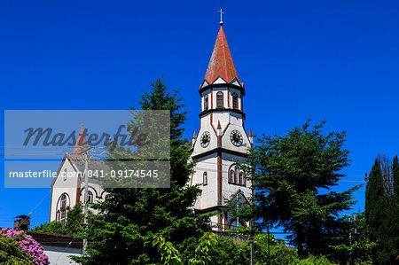 Iglesia del Sagrado Corazon, imposing and colourful church, German colonial architecture, Puerto Varas, Lakes District, Chile, South America