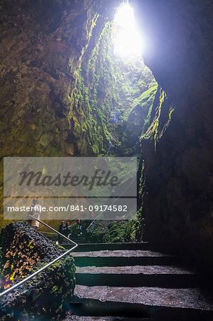 Algar do Carvao Natural Reserve cave, Island of Terceira, Azores, Portugal, Atlantic, Europe