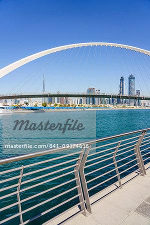 Tolerance Bridge, a new pedestrian bridge spanning Dubai Water Canal, Business Bay, Dubai, United Arab Emirates, Middle East