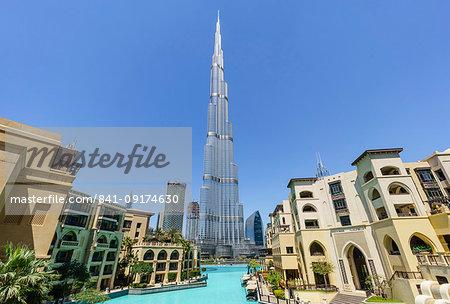 Burj Khalifa and Lake, Downtown, Dubai, United Arab Emirates, Middle East