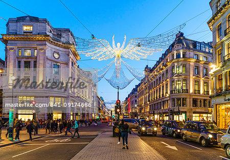 Regent Street with Christmas decorations, London, England, United Kingdom, Europe