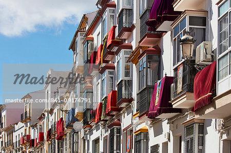 Semana Santa decoration on buildings, Olvera, Andalucia, Spain, Europe