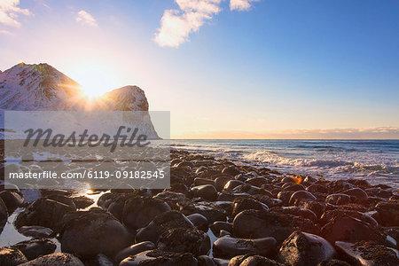 Sunset, Unstad, Vestvagoy, Lofoten Islands, Nordland, Norway, Europe