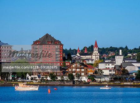 Puerto Varas skyline, Llanquihue Province, Los Lagos Region, Chile, South America
