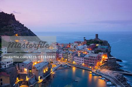 Sunrise at Vernazza, Cinque Terre, UNESCO World Heritage Site, Liguria, Italy, Europe