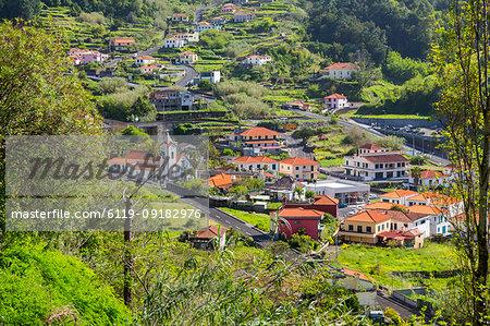 View of small village church near Sao Vicente, Madeira, Portugal, Atlantic, Europe