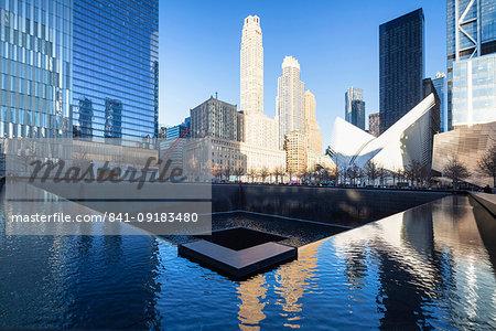 North Pool memorial fountain, Ground Zero, One World Trade Center, Lower Manhattan, New York City, United States of America, North America
