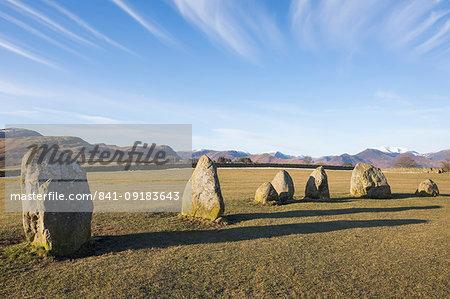 Standing stones at Castlerigg Stone Circle near Keswick, Lake District National Park, UNESCO World Heritage Site, Cumbria, England, United Kingdom, Europe