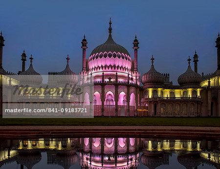 Royal Pavilion reflection dusk, Brighton, Sussex, England, United Kingdom, Europe