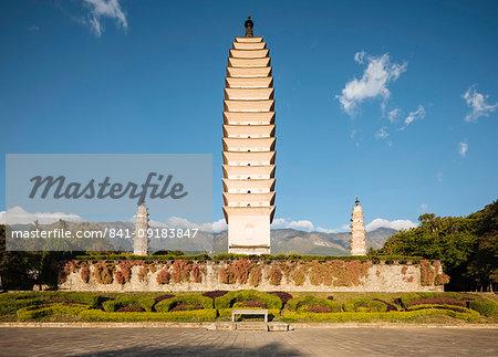 The Three Pagodas (San Ta Si), Dali, Yunnan Province, China, Asia