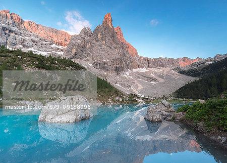 Sunrise at Lake Sorapiss, Sorapiss Lake, Dolomites, Veneto, Italy