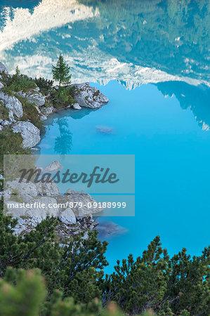 View of Lake Sorapiss, Sorapiss Lake, Dolomites, Veneto, Italy