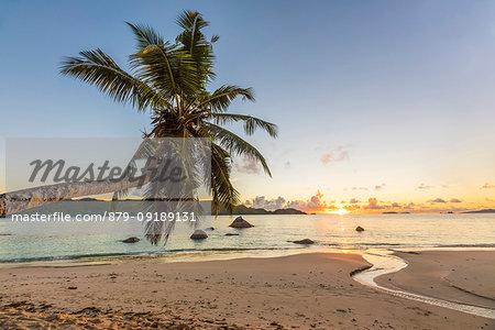 Sunrise in Seychelles. Anse Boudin, Praslin island, Seychelles, Africa