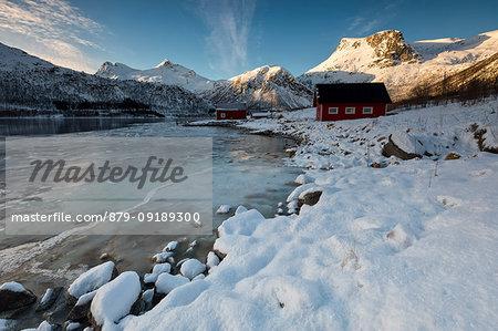 sunrise at Fiskefjorden, municipality of Tjeldsund, Lofoten Island, Norway, Europe