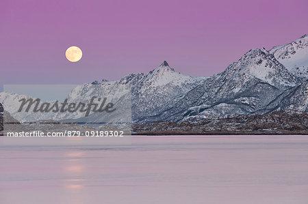 full moon on Austnesfjorden, municipality of Vagan, Lofoten Island, Norway, Europe