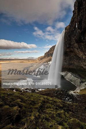 Seljalandsfoss waterfall in winter day, Sudurland, south Iceland, Iceland, Europe.