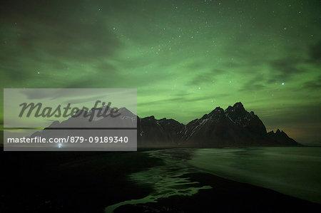 Northen Lights over Vestrahorn mountain, Stokksnes, Eastern Iceland, Europe