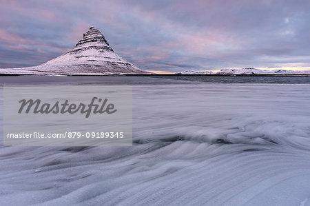 winter sunset at Kirkjufell mountains, Vesturland, Western Iceland, Europe
