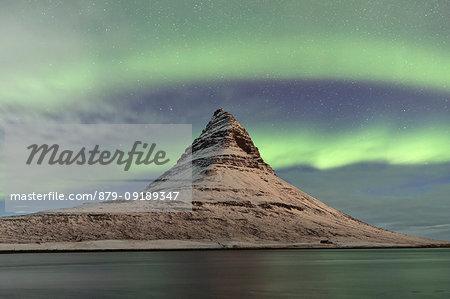 Northen Lights over Kirkjufell mountains, Vesturland, Western Iceland, Europe