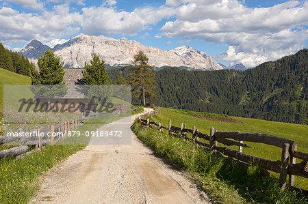Longiarù, San Martino in Badia, Badia Valley, Dolomites, Bolzano province, South Tyrol, Italy. A footpath with Sasso della Croce in the background.
