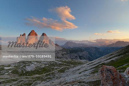 Sunset on Tre Cime di Lavaredo, Dolomites, Dobbiaco, South Tyrol, Bolzano, Italy