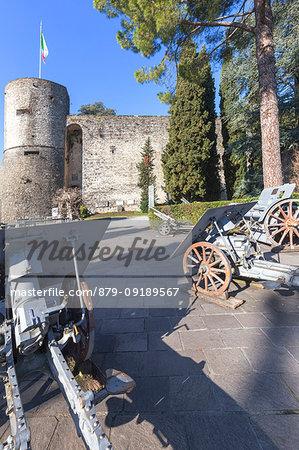 Artillery exposed in the park of Rimembranze(Parco delle Rimembranze), located outside the fortress of Bergamo(Rocca di Bergamo). Bergamo, Lombardy, Italy.