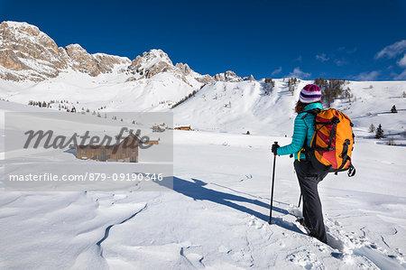 A girl is looking at Fuciace, a small village in Dolomites near San Pellegrino Pass (Soraga di Fassa, Biois Valley, Trento province, Trentino-Alto Adige, Italy, Europe) (MR)