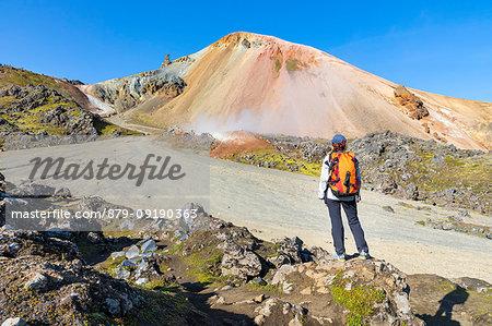 Graenagil footpath: a trekker is looking the Brennisteinsalda mountain from the Laugahraun lava field in Landmannalaugar (Fjallabak Nature Reserve, Highlands, Southern Region, Iceland, Europe) (MR)