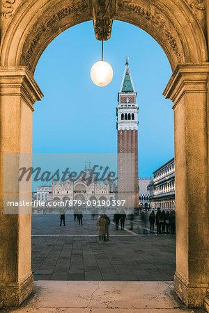 St Mark's square at dusk, Venice, Veneto, Italy.