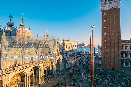 St Mark's Basilica, St Mark's Square, Venice, Veneto, Italy. High angle view at sunset.