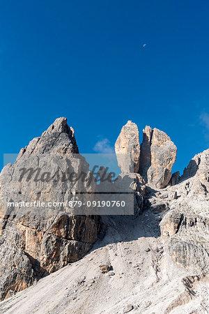 Cristallino di Misurina, Misurina, Dolomites, province of Belluno, Veneto, Italy. The Campanile Dibona, also called lobster claw