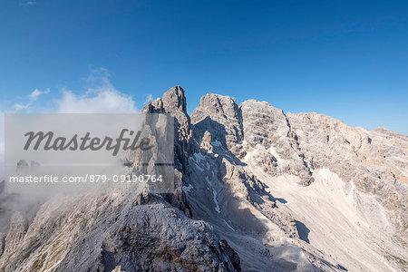 Cristallino di Misurina, Misurina, Dolomites, province of Belluno, Veneto, Italy. View from the top of Cristallino di Misrina to the peaks of Piz Popena, Mount Cristallo and Cristallo di Mezzo