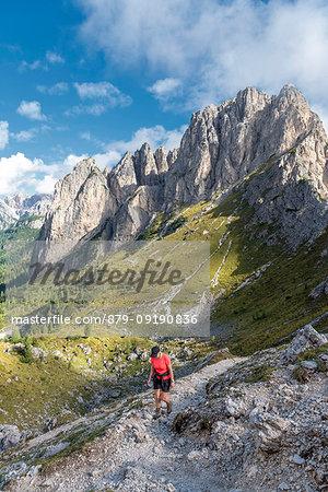 Misurina, Dolomites, province of Belluno, Veneto, Italy. Hike to the refuge Fonda Savio in the Cadini mountain group