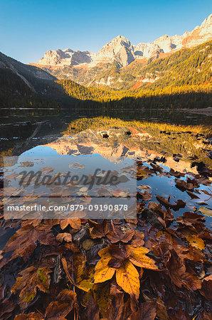 Lake Tovel at sunrise, Europe, Italy, Trentino Alto Adige, Trento district.