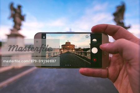 Sant Angelo castle at sunset Europe, Italy, Lazio, Rome capital