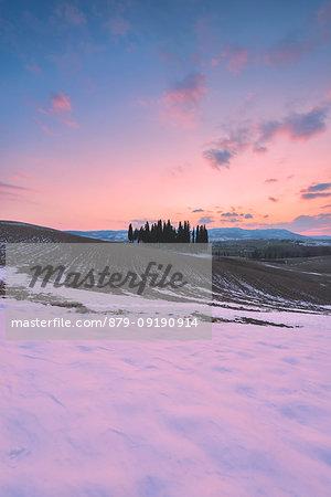 Orccia valley in winter season, Tuscany, Siena province, Italy, Europe.