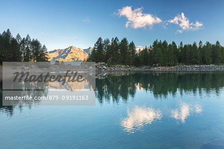 Lago Azzurro at sunrise, Spluga Valley, province of Sondrio, Valtellina, Lombardy, Italy
