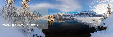 Panoramic of frozen Lake Sils, Plaun da Lej, Maloja Region, Canton of Graubunden, Engadin, Switzerland