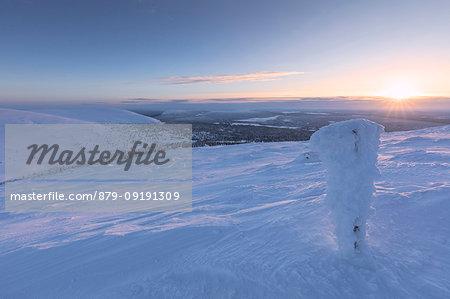 Sunrise on the frozen landscape covered with snow, Pallas-Yllastunturi National Park, Muonio, Lapland, Finland
