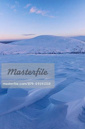 Dusk on the frozen landscape covered with snow, Pallas-Yllastunturi National Park, Muonio, Lapland, Finland