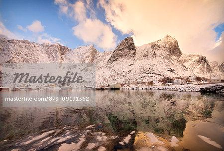 Snow capped mountains, Reine Bay, Lofoten Islands, Norway