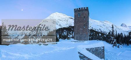 Panoramic of Belvedere Tower and Piz Lunghin, Maloja Pass, Bregaglia Valley, canton of Graubunden, Engadin, Switzerland