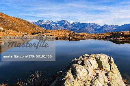 Overview of Bernina Group from Lago Arcoglio during autumn, Valmalenco, Valtellina, Lombardy, Italy