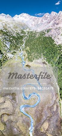Aerial panoramic of creek at foot of Monte Disgrazia and Corni Bruciati, Preda Rossa, Valmasino, Valtellina, Lombardy, Italy